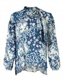 Kenmare Blue and White Floating Lilies Print Viscose Blouse