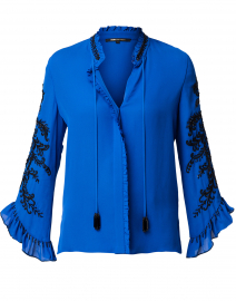 Margo Blue Embellished Silk Blouse