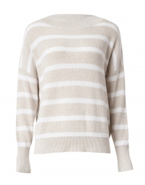 Beige and White Striped Cotton Sweater