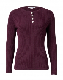 Bordeaux Ribbed Cotton Henley Top