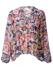 Edie Navy and Blush Floral Blouse