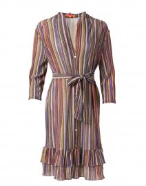 Patricia Metallic Multicolor Striped Lurex Shirt Dress