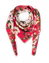 Naomi Light Pink and Raspberry Floral Wool Cashmere Scarf
