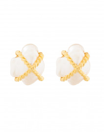 Gold Braided X Pearl Clip On Earrings