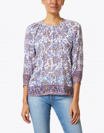 Bell - Courtney Blue Floral Cotton and Silk Top