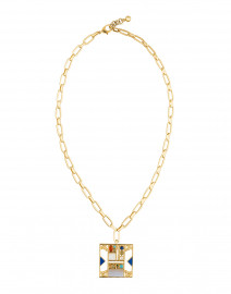 Venus Collage Multicolored Gold Pendant Necklace