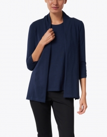 E.L.I. - Midnight Blue Cotton Ruched Sleeve Cardigan