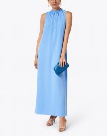 Sail to Sable - Marina Blue Poly Crepe Maxi Dress