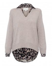 Beige Sweater with Cheetah Print Underlayer