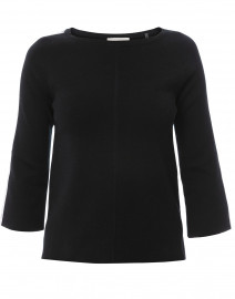 Black Cotton Sweater with White Contrast Trim