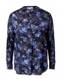 Plumeria Floral Print Silk Blouse