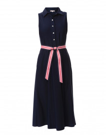 Ashlyn Navy Belted Midi Dress