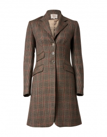 Camel and Red Plaid Wool and Cashmere Coat