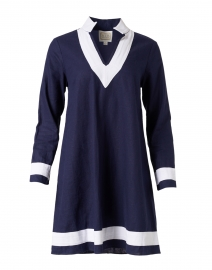 Navy and White Stretch Linen Tunic Dress