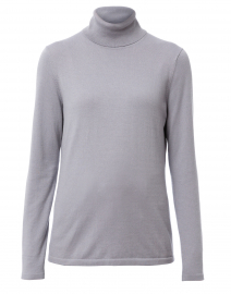 Metallic Grey Cotton Turtleneck Sweater