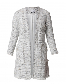 Grey and White Tweed Long Jacket