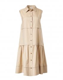 Serena Beige Cotton Silk Shirt Dress