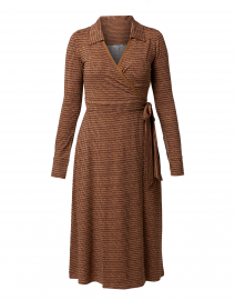 Enya Brown Print Wrap Dress