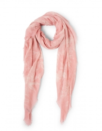 Pink and White Hand Painted Floral Cashmere Scarf