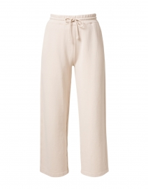 Pale Beige Cotton French Terry Cropped Pant