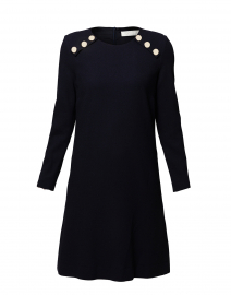 Irma Dark Navy Wool Crepe Tunic Dress