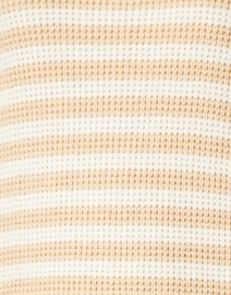 Sail to Sable - Beige and White Striped Cotton and Merino Wool Sweater