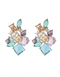 FALLON - Pink and Green Crystal Cluster Earrings