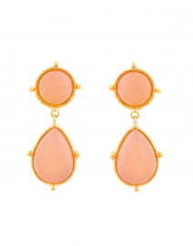 Two Pink Quartz Stone Drop Earrings