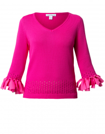 Hot Pink Cotton Bow Trim Sweater