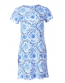 Ella Blue Painted Tile Printed Dress
