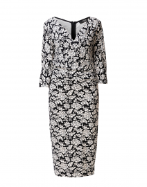Estri Black and White Floral Jersey Dress