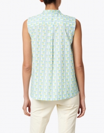 Caliban - Blue and Pink Geometric Printed Stretch Cotton Top