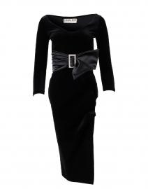Rannah Black Stretch Velvet Dress