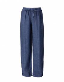 Dark Blue Linen Wide Leg Drawstring Pant