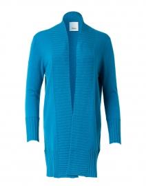 Blue Cashmere Knit Open Cardigan