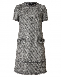 Dubina Black and White Tweed Dress