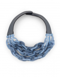 Mirella Smokey Cornflower Blue Resin Chain Link Necklace