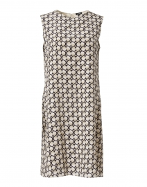 Beige and Black Geometric Dot Silk Dress