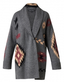 Grey, Beige and Red Geo Print Wool Cashmere Cardigan