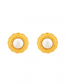 Kenneth Jay Lane - Pearl and Gold Button Clip On Earring