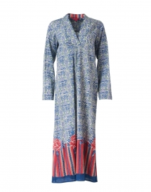 Radha Blue and Red Berber Design Print Cotton Kaftan