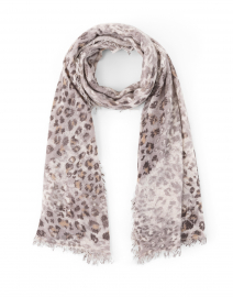 Brown Animal Print Cashmere Scarf