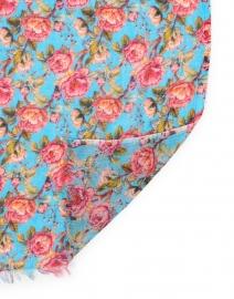 Pashma - Blue Ombre Rose Floral Silk Cashmere Scarf
