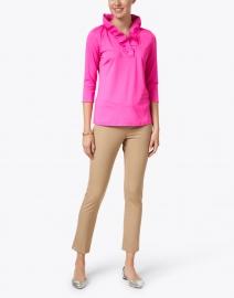 Gretchen Scott - Pink Ruffle Neck Top