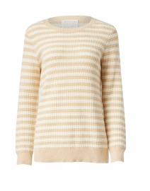Beige and White Striped Cotton and Merino Wool Sweater