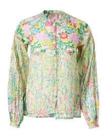 Ella Pistachio Green Floral Cotton Voile Top