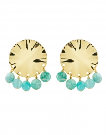 Gold Circular Wave and Amazonite Beads Drop Earring