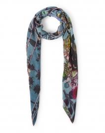 Blue Rococo Floral Print Modal Cashmere Scarf