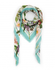 Pale Blue and White Floral Wool and Cashmere Scarf