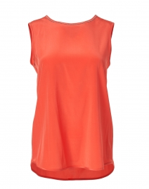 Coral Stretch Silk Top with Brilliant Detail